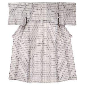 格子の紗紬 夏着物