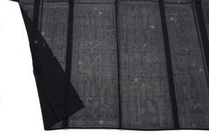 黒地の水玉文様の紗紬 夏着物