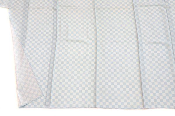 ブルー地の格子の絽の鮫小紋 夏着物