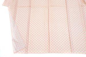 ピンク地の格子の絽の鮫小紋 夏着物