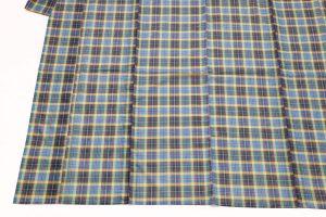 ブルー地イギリス格子の夏着物