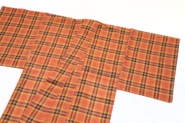 オレンジ地イギリス格子の夏着物