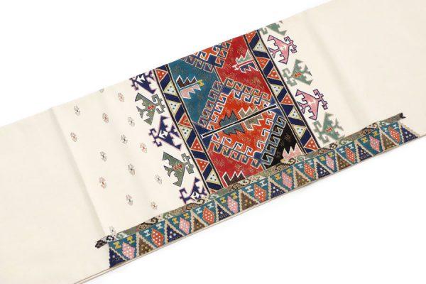 インカ文様の紬地の袋帯