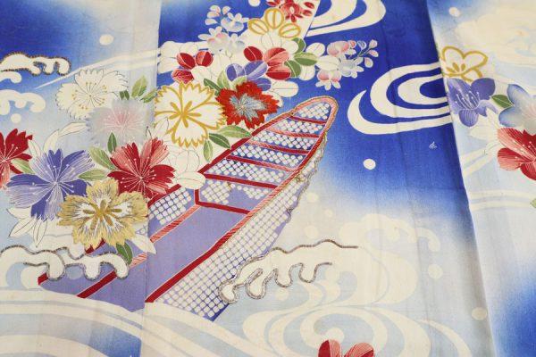 流水に花舟文の夏アンティーク着物