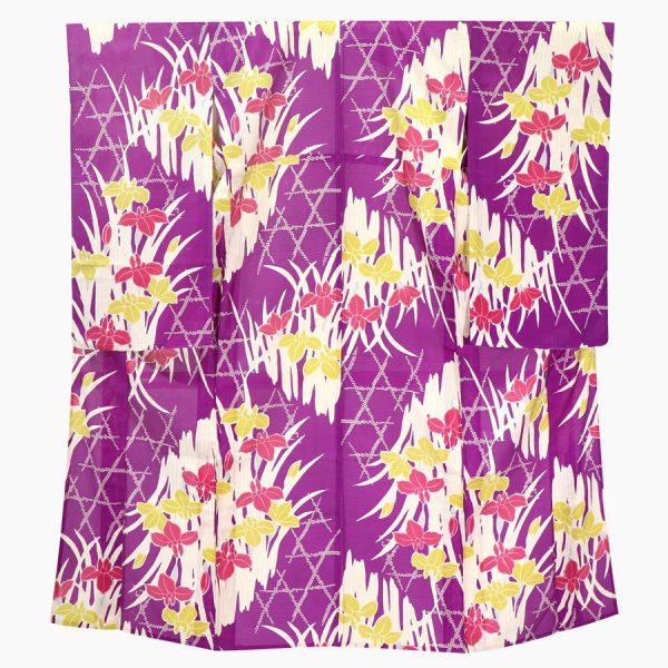 竹垣に菖蒲文の絽の夏アンティーク着物