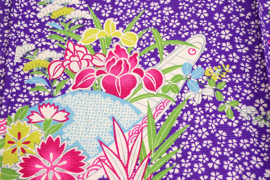 撫子と花舟文の夏アンティーク着物