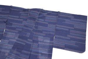 横線の夏の紗紬 着物
