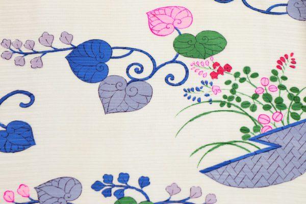 葵唐草に杜若と萩文の絽の小紋 夏着物