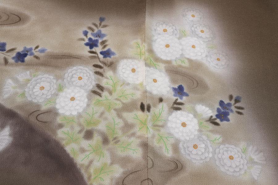 菊流水文の縮緬地の訪問着 着物