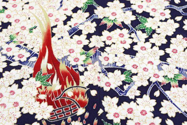 篝火と桜文の訪問着 着物