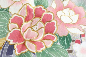 遠山四季花文の振袖 着物