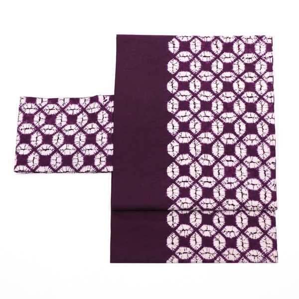 紫紺染の七宝文の名古屋帯