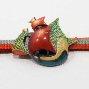陶器の南蛮船のアンティーク帯留