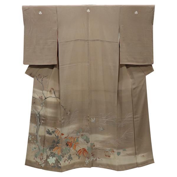 琳派画の縮緬のアンティーク着物