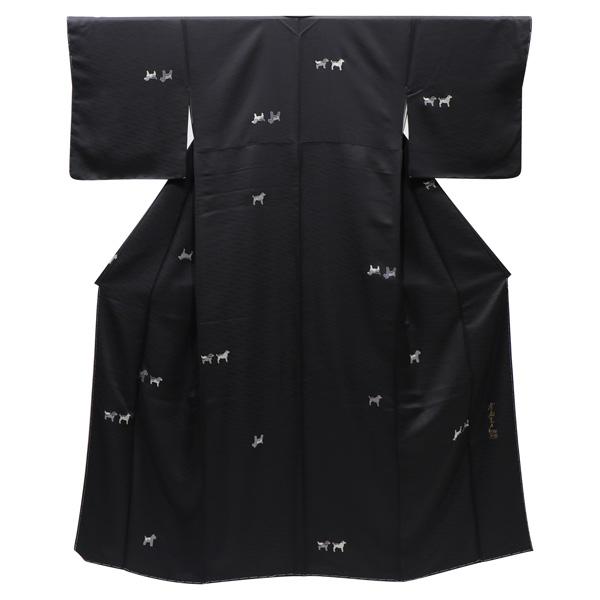 斉藤三才の犬文の小紋 着物