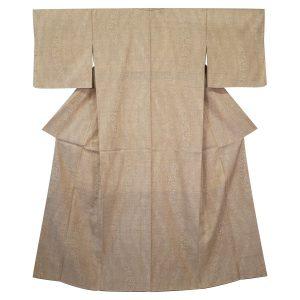 花文よろけ縞の本場結城紬の着物